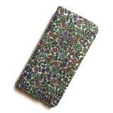 iPhoneSE iPhone5sケース 手帳型 リバティ・エミリアズ・フラワーズ(パープル)おしゃれ かわいい マグネットを使わないのでカード安全