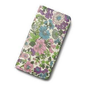 画像1: iPhoneケース 手帳型 リバティ・エミリー(パープル)  おしゃれ  かわいい マグネットを使わないのでカード安全