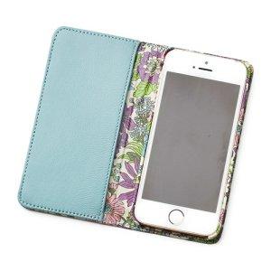 画像2: iPhoneケース 手帳型 リバティ・エミリー(パープル)  おしゃれ  かわいい マグネットを使わないのでカード安全
