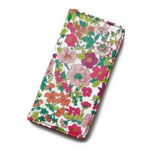 画像1: iPhoneケース 手帳型 リバティ・エミリー(ラスベリー)  おしゃれ  かわいい マグネットを使わないのでカード安全