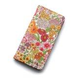 iPhoneSE iPhone5sケース 手帳型 リバティ・マーガレットアニー(オレンジ&ピンク)  おしゃれ  かわいい マグネットを使わないのでカード安全