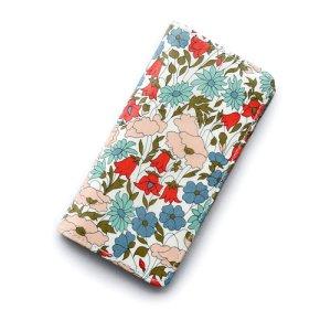 画像1: iPhone6sケース・手帳型 リバティ・ポピー&デイジー(ライトブルー) おしゃれ  かわいい マグネットを使わないのでカード安全
