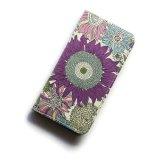 iPhoneSE iPhone5sケース 手帳型  リバティ・スモールスザンナ(パープル)おしゃれ  かわいい マグネットを使わないのでカード安全