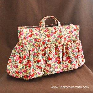 画像1: マザーズバッグインバッグ: おしゃれ かわいい:リバティ・クレアオード(レッド)