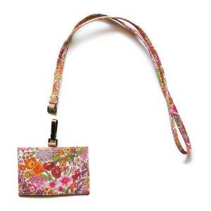 画像2: 【送料無料】IDカードケース: おしゃれ かわいい:リバティ・マーガレットアニー(オレンジ&ピンク)パスケース IDカードホルダー