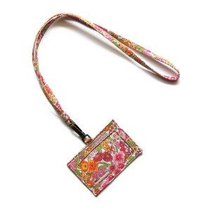 画像1: 【送料無料】IDカードケース: おしゃれ かわいい:リバティ・マーガレットアニー(オレンジ&ピンク)パスケース IDカードホルダー