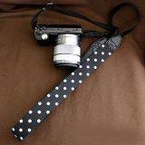 ミラーレス用カメラストラップ(3cm幅): おしゃれ かわいい:白黒ドット