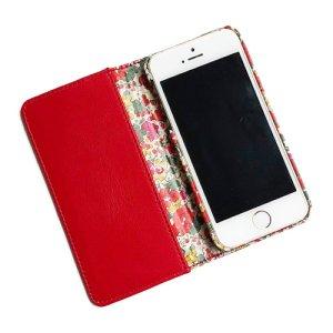 画像2: 【送料無料】iPhone8 Plusケース iPhone7 Plusケース iPhone6s Plusケース手帳型 リバティ クレアオード (レッド) SHOKO MIYAMOTO おしゃれ かわいい マグネット無しでカード安全 スマホケース アイフォンケース Liberty