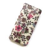 【送料無料】iPhone XR iPhone XS iPhone X ケース手帳型  リバティ エデナム (ワインカラー) SHOKO MIYAMOTO おしゃれ かわいい マグネット無しでカード安全 スマホケース アイフォンケース Liberty