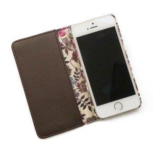 画像2: 【送料無料】iPhone8ケース iPhone7ケース手帳型 リバティ エデナム(ワインカラー)  SHOKO MIYAMOTO おしゃれ かわいい マグネット無しでカード安全 スマホケース アイフォンケース Liberty