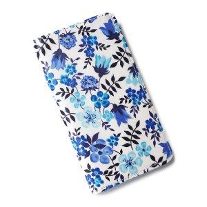 画像1: 【送料無料】iPhoneSEケース iPhone5sケース手帳型 リバティ エデナム (ブルー)ワントーンシリーズ  SHOKO MIYAMOTO おしゃれ かわいい マグネット無しでカード安全 スマホケース アイフォンケース Liberty