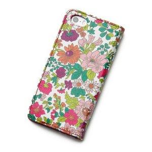 画像3: 【送料無料】iPhoneSEケース iPhone5sケース 手帳型 リバティ・エミリー(ラスベリー)  おしゃれ  かわいい マグネットを使わないのでカード安全  スマホケース アイフォンケース