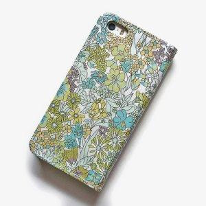 画像3: 【送料無料】iPhoneSE(第1世代)ケース iPhone5sケース 手帳型  リバティ・マーガレットアニー(グリーン)おしゃれ  かわいい マグネットを使わないのでカード安全  スマホケース アイフォンケース
