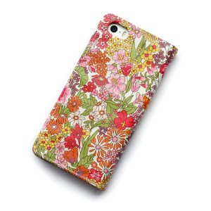 画像3: 【送料無料】iPhoneSEケース iPhone5sケース 手帳型 リバティ・マーガレットアニー(オレンジ&ピンク)  おしゃれ  かわいい マグネットを使わないのでカード安全  スマホケース アイフォンケース