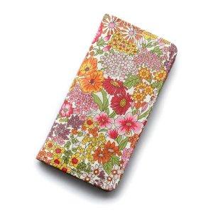 画像1: 【送料無料】iPhone XS Max iPhone8 Plus iPhone7 Plus iPhone6s Plus ケース 手帳型 リバティ・マーガレットアニー(オレンジ&ピンク) おしゃれ  かわいい マグネットを使わないのでカード安全