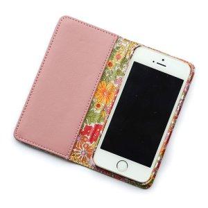 画像2: 【送料無料】iPhoneSEケース iPhone5sケース 手帳型 リバティ・マーガレットアニー(オレンジ&ピンク)  おしゃれ  かわいい マグネットを使わないのでカード安全  スマホケース アイフォンケース