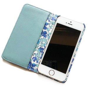 画像2: 【送料無料】iPhoneSE(第1世代)ケース iPhone5sケース手帳型 リバティ メドゥ (ブルー)ワントーンシリーズ  SHOKO MIYAMOTO おしゃれ かわいい マグネット無しでカード安全 スマホケース アイフォンケース Liberty