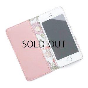 画像2: 【送料無料】iPhoneSE(第1世代)ケース iPhone5sケース手帳型 リバティ ローズエレン (コーラルピンク)  SHOKO MIYAMOTO おしゃれ かわいい マグネット無しでカード安全 スマホケース アイフォンケース Liberty