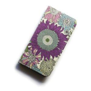 画像1: 【送料無料】iPhone8ケース iPhone7ケース・手帳型 リバティ・スモールスザンナ(パープル) おしゃれ  かわいい マグネットを使わないのでカード安全