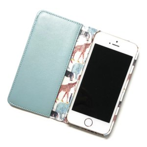 画像2: 【送料無料】iPhone6sケース手帳型 リバティ・キュー・フォー・ザ・ズー(ライトブルー) SHOKO MIYAMOTO おしゃれ かわいい マグネット無しでカード安全 スマホケース アイフォンケース Liberty